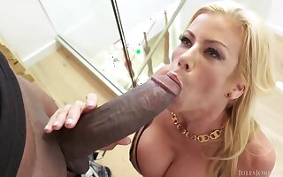Big titted blonde housewife in erotic lingerie could not hold back from fucking a black guy