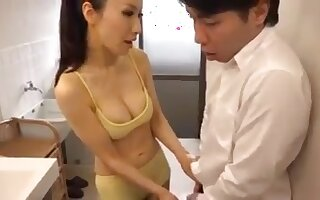 Hot Japanese Mom and her Young Son