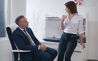 Aroused woman feels intrigued helter-skelter fucking her boss