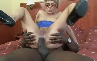 Dirty grown up tow-haired Jessey drops on her knees for a black dick