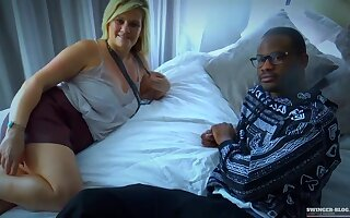 Slutty, amateur woman is often riding her neighbors big gumshoe while having an interracial threesome