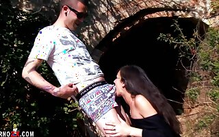 Samia Christal goes with a local boy for some alfresco naughty fun.
