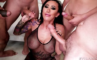 Asian whore gags and sucks dicks in premium gang bang XXX action