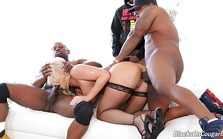 Black studs defend a mess of horny blonde London River during rough gangbang