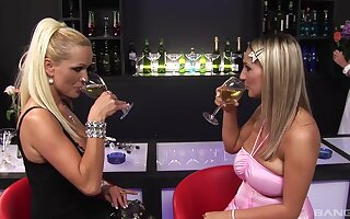 Sharon Pink and her girlfriends sharing a big bushwa in a bar
