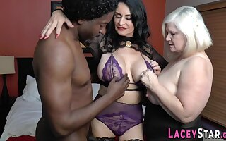 Big-Titted granny riding black knob Interracial
