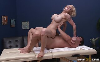 Oiled back massage leads to ebullient sex with MILF Candy Manson