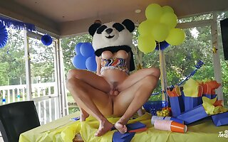 Border MILF gets the huge Panda bear's dick inside say no to ass