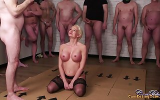 Newcomer disabuse of girl takes 16 jizz loads on face and the brush fluffer kisses the brush at end