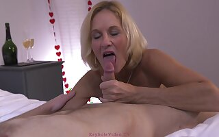 Experienced blonde mature, Molly Maracas sucks and rides a rock constant cock like a pro drab