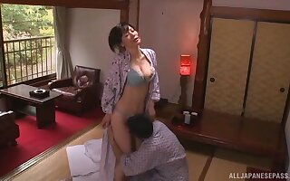 Smooth intercourse more than dramatize expunge bed with nice natural tits housewife