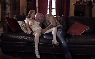 Bald dude stings premium unfocused with the right inches