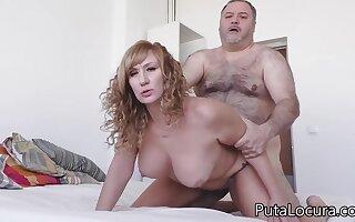 Hairy older old man fucks horny slut Katerina