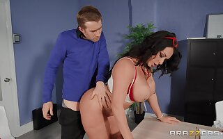 Fine ass MILF bends over the bureau for this dude to pound her