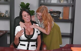 Lesbian accomplice seduces seduces bossy cougar Penny Pax and licks her pussy on the table