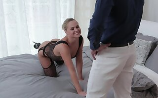 Cute flaxen-haired become man teases with her underclothes together with gets fucked good