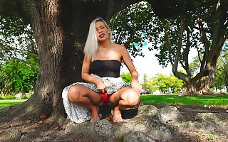 Small ass blondie Kacey drops her dress to play in outdoors