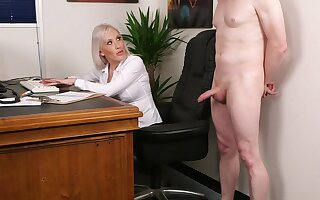 Office tow-headed wants hammer away new guy's dick in a unexpected CFNM tryout