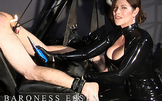 Dominatrix Fists and Busts her Slave's balls!