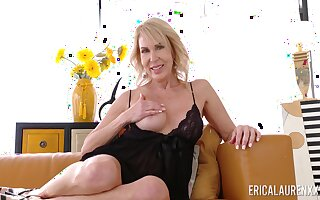 Kinky blonde housewife Erica Lauren is happy almost work on her wet pussy