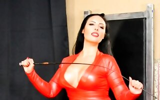 Latex femdom arse going-over and cockmilking untill spunk fountain